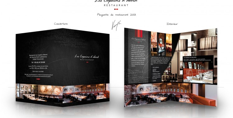 """Plaquette réalisée pour le restaurant """"Les Copains D'abord"""" situé à Toulouse."""